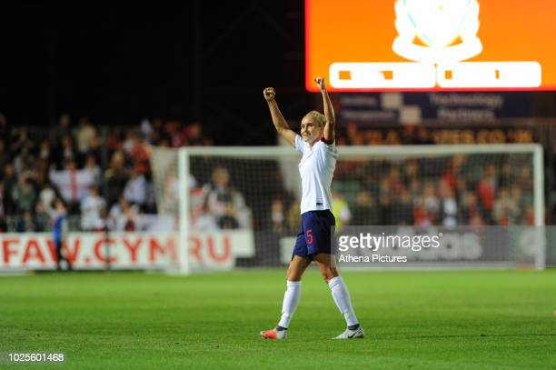 Steph Houghton of England Women applauds the fans at the final whistle of the FIFA Women's World Cup Qualifier match between Wales and England at...