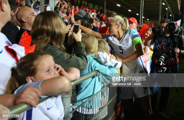 Steph Houghton of England Women greets the fans during the UEFA Women's Euro 2017 match between England and France at Stadion De Adelaarshorst on...