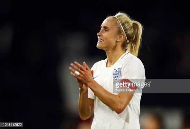 Steph Houghton of England Women shows appreciation to the fans after the International Friendly match between England Women and Australia at Craven...