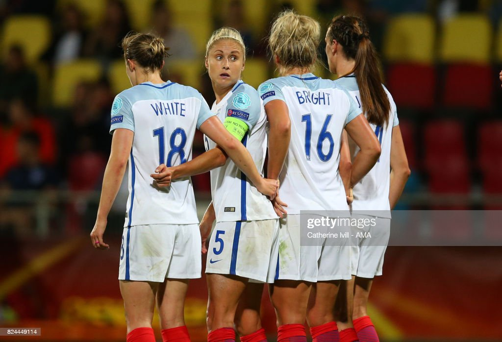 Steph Houghton of England Women stands in the defensive wall during the UEFA Women's Euro 2017 match between England and France at Stadion De Adelaarshorst on July 30, 2017 in Deventer, Netherlands.