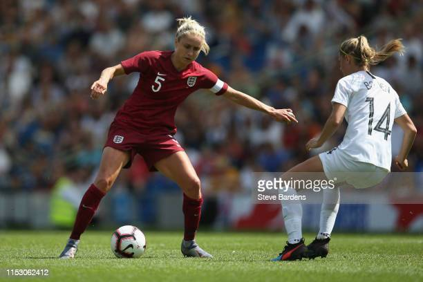 Steph Houghton of England Women takes on Katie Bowen of New Zealand Women battle for the ball during the International Friendly between England Women...