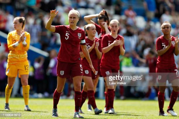 Steph Houghton of England Women waves to the crowd after the International Friendly between England Women and New Zealand Women at Amex Stadium on...