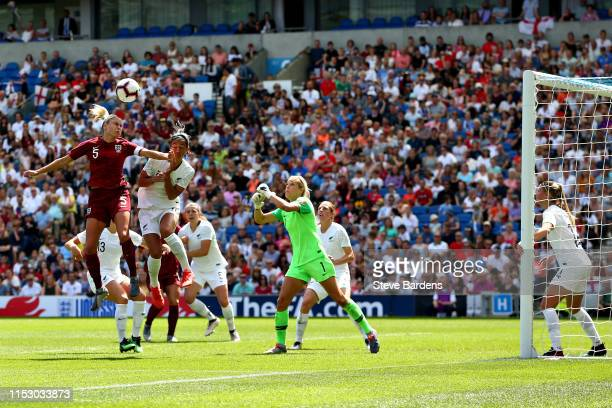 Steph Houghton of England Women wins a header during the International Friendly between England Women and New Zealand Women at Amex Stadium on June...