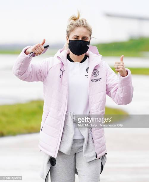 Steph Houghton of Manchester City boards the team flight at Manchester Airport for the trip to Gothenburg on December 08, 2020 in Manchester, England.