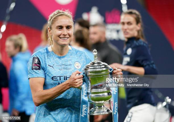 Steph Houghton of Manchester City celebrates with the trophy during the Vitality Women's FA Cup Final match between Everton Women and Manchester City...