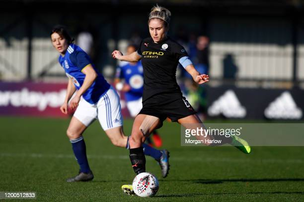 Steph Houghton of Manchester City controls the ball during the Barclays FA Women's Super League match between Birmingham City and Manchester City at...