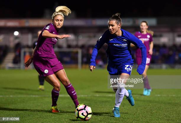 Steph Houghton of Manchester City Ladies and Ramona Bachmann of Chelsea Ladies during the WSL match between Chelsea Ladies and Manchester City Ladies...