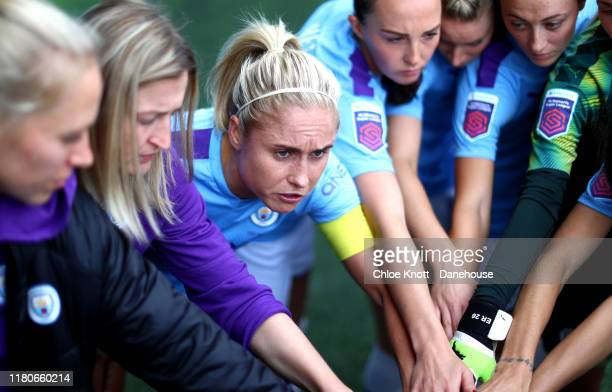 Steph Houghton of Manchester City leads a team talk ahead of the Barclays FA Women's Super League match between Manchester City and Birmingham City...