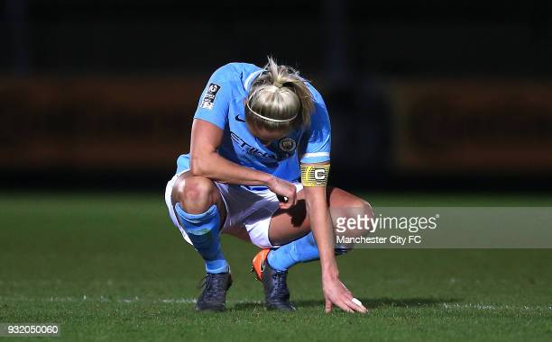 Steph Houghton of Manchester City looks dejected following the WSL Continental Cup Final between Arsenal Women v Manchester City Ladies at Adams Park...