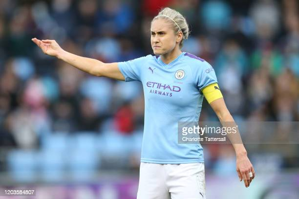 Steph Houghton of Manchester City reacts during the Barclays FA Women's Super League match between Manchester City and Arsenal at The Academy Stadium...