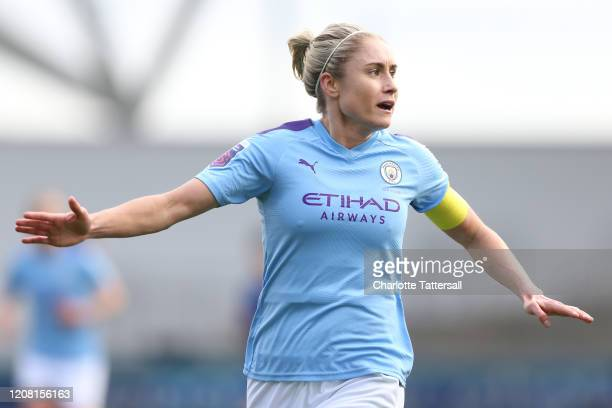 Steph Houghton of Manchester City reacts during the Barclays FA Women's Super League match between Manchester City and Chelsea at The Academy Stadium...