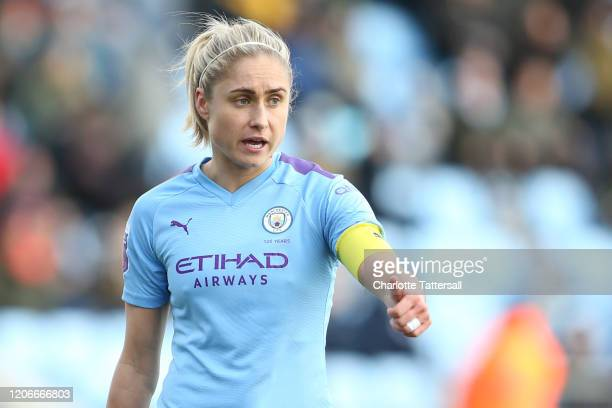 Steph Houghton of Manchester City reacts during the Women's FA Cup game between Manchester City and Ipswich FC at The Academy Stadium on February 16...