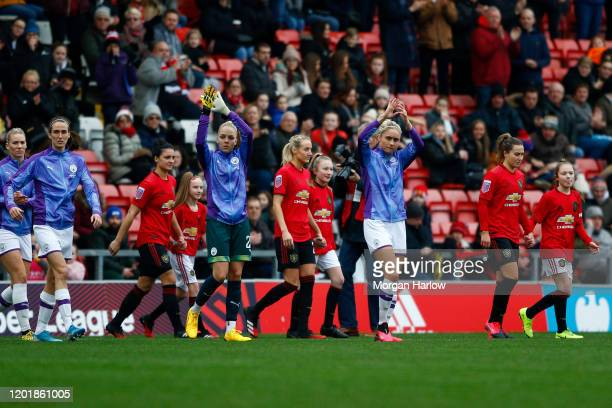 Steph Houghton of Manchester City seen walking onto the pitch prior to the Women's FA Cup Forth Round match between Manchester United Women and...