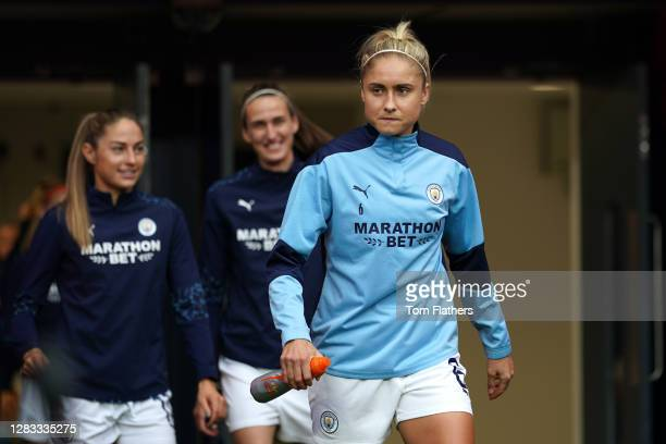 Steph Houghton of Manchester City walks out for the warm up prior to the Vitality Women's FA Cup Final match between Everton Women and Manchester...