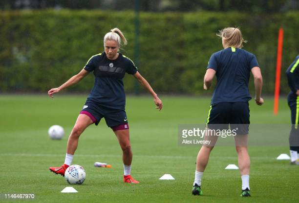 Steph Houghton of Manchester City Women controls the ball during a training session ahead of the SSE Women's FA Cup Final at the Academy Stadium on...