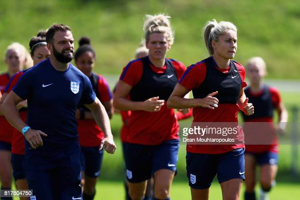 Steph Houghton of the England women's national team in action during a training session on the eve of their UEFA Women's 2017 Group D match...