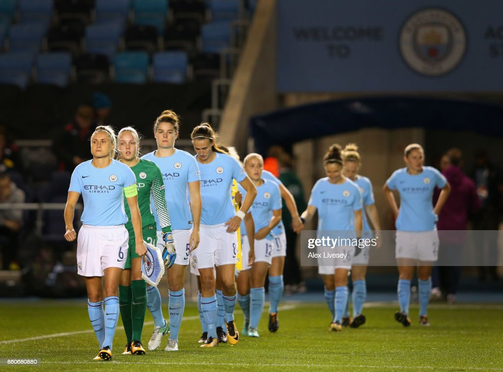 Steph Houghton the captain of Manchester City Ladies leads the team out prior to the UEFA Women's Champions League match between Manchester City Ladies and St. Polten Ladies at Manchester City Football Academy on October 12, 2017 in Manchester, England.