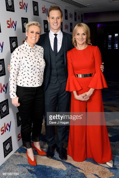 Steph McGovern Dan Walker and Louise Minchin attend the TRIC Awards 2018 held at The Grosvenor House Hotel on March 13 2018 in London England