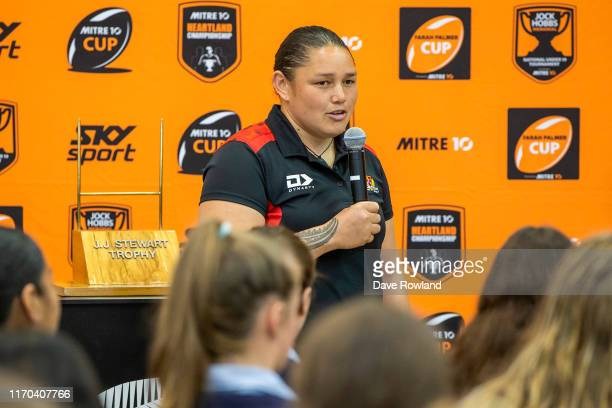Steph OhaereFox from Canterbury answers questions from students during the Farah Palmer Cup Launch at Epsom Girls Grammar on August 27 2019 in...