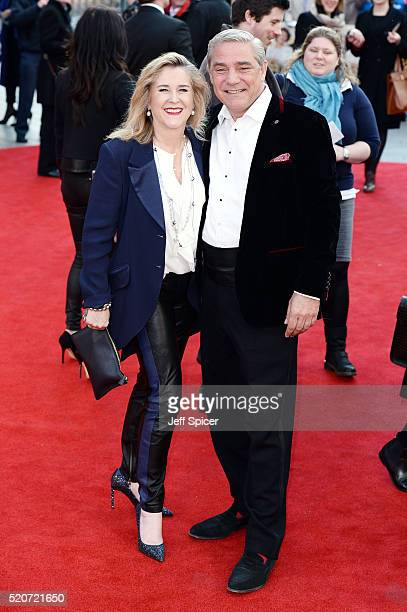 """Steph Parke and Dom Parke arrive for the UK film premiere Of """"Florence Foster Jenkins"""" at Odeon Leicester Square on April 12, 2016 in London, England."""