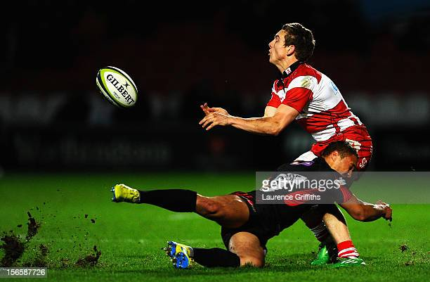 Steph Reynolds of Gloucester is hit by Dan Caprice of London Welsh during the LV= Cup match between Gloucester and London Welsh at Kingsholm Stadium...