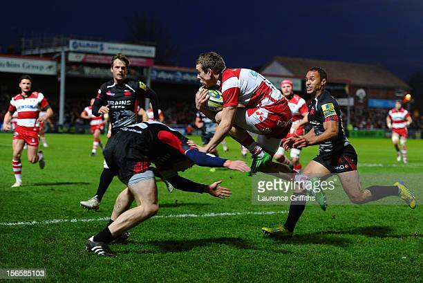 Steph Reynolds of Gloucester jumps a tackle from Jamie Stephenson of London Welsh during the LV= Cup match between Gloucester and London Welsh at...
