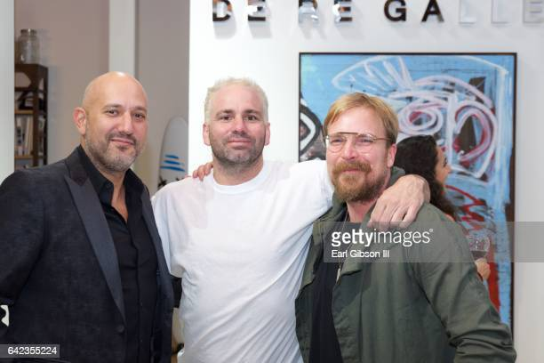 Steph Sebbag, Danny Minnick and Chad Muska attend the Power To The Planet Exhibition Opening at De Re Gallery on February 16, 2017 in West Hollywood,...