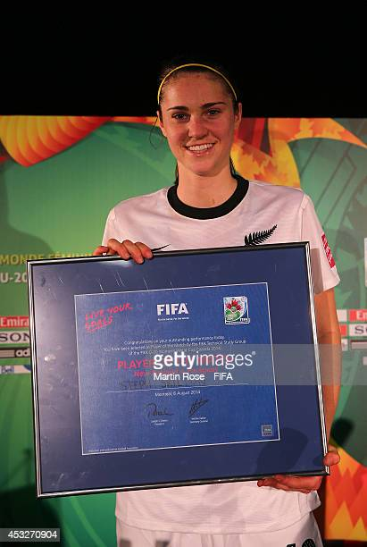 Steph Skilton of New Zealand is honred as player of the match after the FIFA U20 Women's World Cup 2014 group D match between New Zealand and...