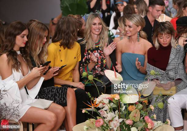 Steph Smith Ksenija Lukich Nikki Phillips Anna Heinrich sit front row during the C/meo Collective show at MercedesBenz Fashion Week Resort 18...