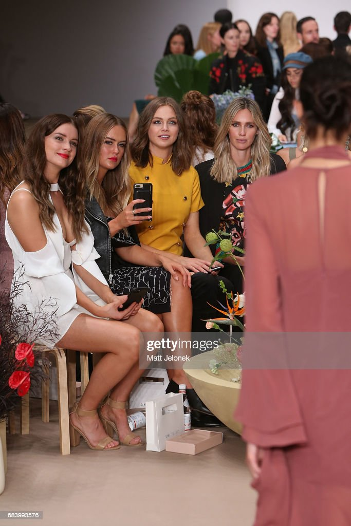 Steph Smith, Ksenija Lukich & Nikki Phillips sit front row at the C/meo Collective show at Mercedes-Benz Fashion Week Resort 18 Collections at Carriageworks on May 17, 2017 in Sydney, Australia.