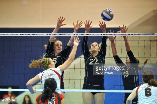 Steph Strauss Amanda Schmidt and Kelsey Fuller of Juniata jump to block the ball during the Division III Women's Volleyball Championship held at the...