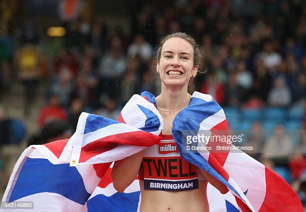 Steph Twell of Great Britain celebrates after her victory in the women's 5000m final on day three of the British Championships Birmingham at...