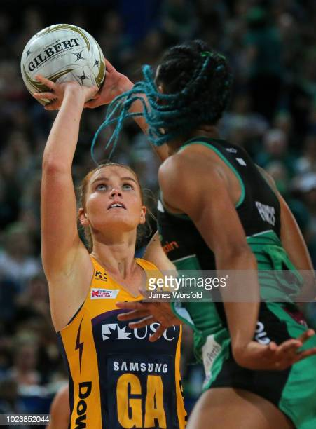 Steph Wood of the Sunshine Coast Lightning takes a shot during the Super Netball Grand Final match between the the Fever and the Lightning on August...