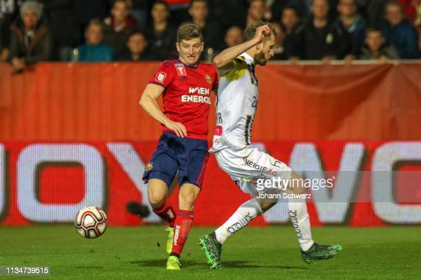 Stephan Auer of Rapid and Christian Ramsebner of LASK during UNIQA OeFB Cup Semifinal Match between LASK and SK Rapid at TGW Arena on April 3 2019 in...