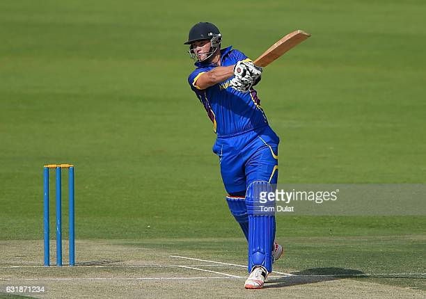 Stephan Baard of Namibia bats during the Desert T20 Challenge match between Ireland and Namibia at Sheikh Zayed Cricket Stadium on January 17 2017 in...