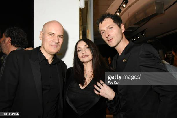 Stephan Bezy GD of L'Oreal Beatrice Dalle and Simon Buret of AaRON band attend YSL Beauty Party During Paris Fashion Week Menswear Fall/Winter...