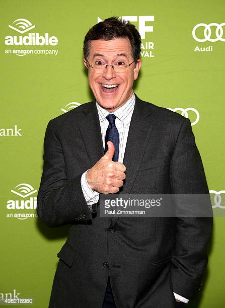 Stephan Colbert attends Montclair Film Festival presents Celebrity NerdOff Stephen Colbert JJ Abrams on November 21 2015 in Newark New Jersey