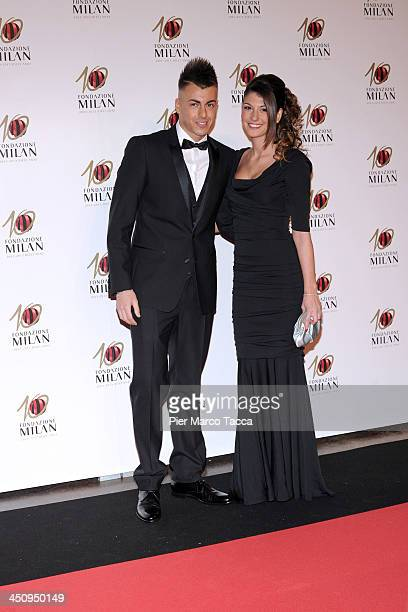 Stephan El Shaarawy and Ester Giordano attend the Fondazione Milan 10th Anniversary Gala photocall on November 20, 2013 in Milan, Italy.