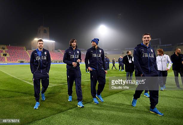 Stephan El Shaarawy Mattia Perin Simone Zaza and Mattia De Sciglio chat prior to the Italy training session at Stadio Renato Dall'Ara on November 16...
