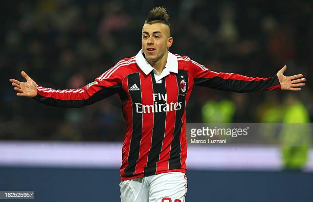 Stephan El Shaarawy of AC Milan celebrates after scoring the opening goal during the Serie A match FC Internazionale Milano and AC Milan at San Siro...