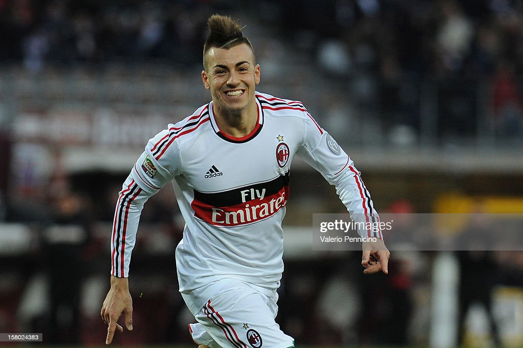 Stephan El Shaarawy of AC Milan celebrates after scoring their fourth goal during the Serie A match between Torino FC and AC Milan at Stadio Olimpico di Torino on December 9, 2012 in Turin, Italy.