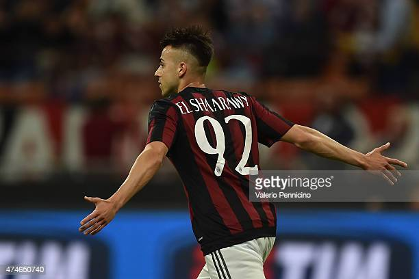 Stephan El Shaarawy of AC Milan celebrates the opening goal during the Serie A match between AC Milan and Torino FC at Stadio Giuseppe Meazza on May...