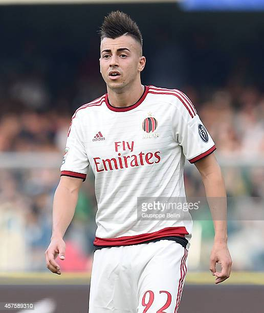 Stephan El Shaarawy of AC Milan during the Serie A match between Hellas Verona FC and AC Milan at Stadio Marc'Antonio Bentegodi on October 19 2014 in...
