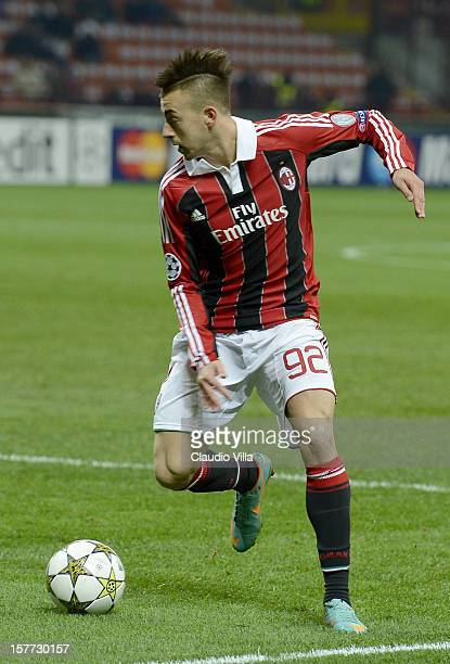 Stephan El Shaarawy of AC Milan in action during the UEFA Champions League group C match between AC Milan and Zenit St Petersburg at San Siro Stadium...