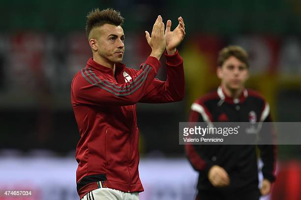 Stephan El Shaarawy of AC Milan salutes the fans at the end of the Serie A match between AC Milan and Torino FC at Stadio Giuseppe Meazza on May 24...