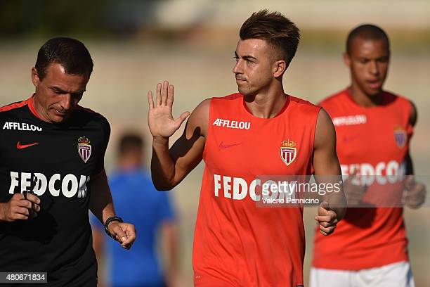 Stephan El Shaarawy of AS Monaco salutes the fans after the preseason friendly match between Queens Park Rangers and AS Monaco on July 14 2015 in...