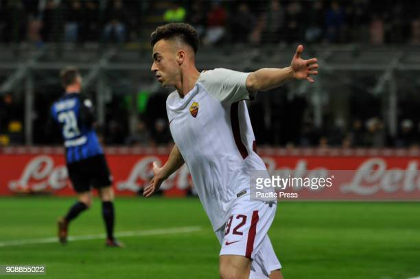Stephan El Shaarawy of AS Roma celebrate the first goal during Serie A football FC Inter versus AS Roma FC inter and AS Roma finish the match 11