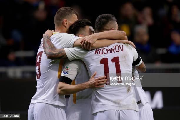 Stephan El Shaarawy of AS Roma celebrates 10 with Edin Dzeko of AS Roma Aleksandar Kolarov of AS Roma during the Italian Serie A match between...