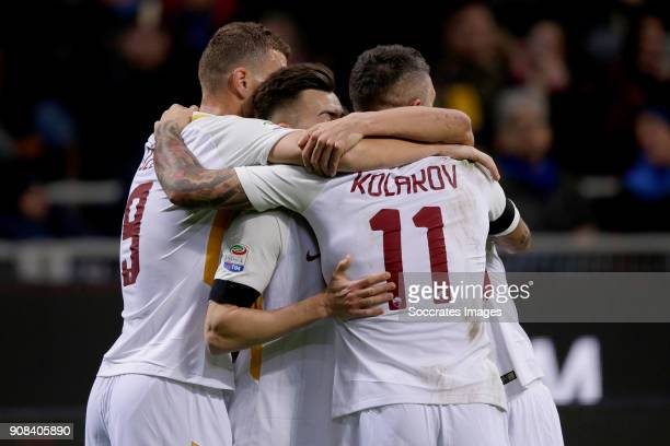 Stephan El Shaarawy of AS Roma celebrates 10 with Edin Dzeko of AS Roma Aleksandar Kolarov of AS Roma during the Italian Serie A match between...