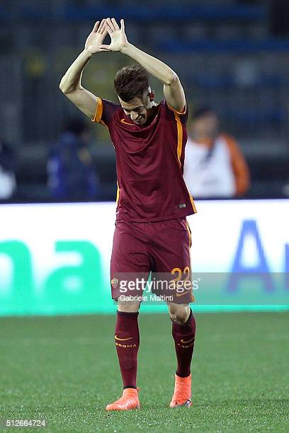 Stephan El Shaarawy of AS Roma celebrates after scoring a goal during the Serie A match between Empoli FC and AS Roma at Stadio Carlo Castellani on...